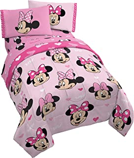 Jay Franco Disney Minnie Mouse Hearts N Love 5 Piece Full Bed Set - Includes Reversible Comforter & Sheet Set - Super Soft...