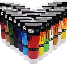 Artina akrylmålningssats krylic – 24 set akrylfärger 120 ml – färgglada färger för barn och vuxna