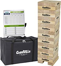 Giant Tumbling Timber Toy - Jumbo Wooden Blocks Floor Game for Kids and Adults, 56 Pieces, Premium Pine Wood, Carry Bag, L...