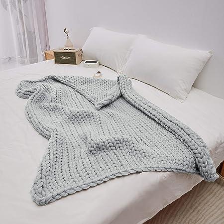 Handmade Chunky Knitted Blanket Soft Knitting Throw Bed Rug Bulky Sofa Pet Mat