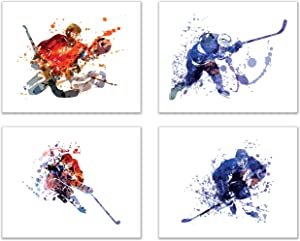 Ice Hockey Watercolor Wall Art Prints - Silhouette - Set of 4 (8x10) Unframed Poster Photos - Bedroom - Man Cave Decor