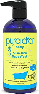 PURA D`OR All-in-One Baby Wash - USDA Biobased, Sulfate-Free, Tear-Less, Hypoallergenic, No Artificial Scent, Gentle, Natural Calming 2-in-1 Baby Bath Wash & Shampoo, 16 Fl Oz (Packaging may vary)