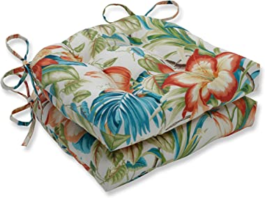 """Pillow Perfect Outdoor/Indoor Botanical Glow Tiger Lily Large Chair Pads, 17.5"""" x 16.5"""", Floral, 2 Pack"""