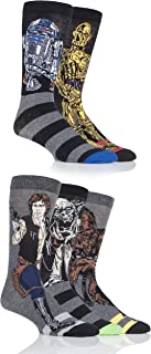 Men's 5 Pair Star Wars Yoda, Chewbacca, C3P0, R2-D2 and Han Solo Socks