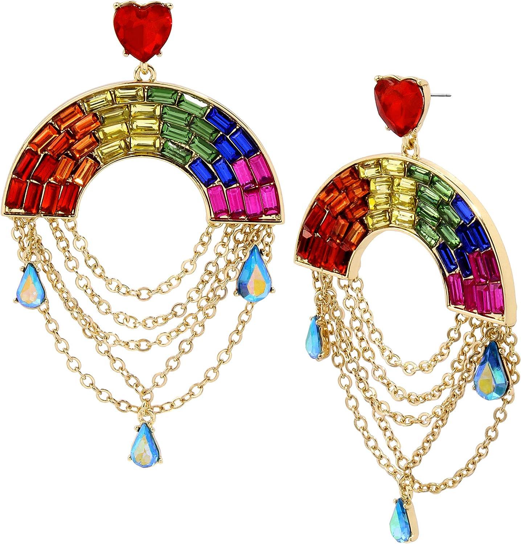 Betsey Johnson Rainbow Stone Chandelier Earrings