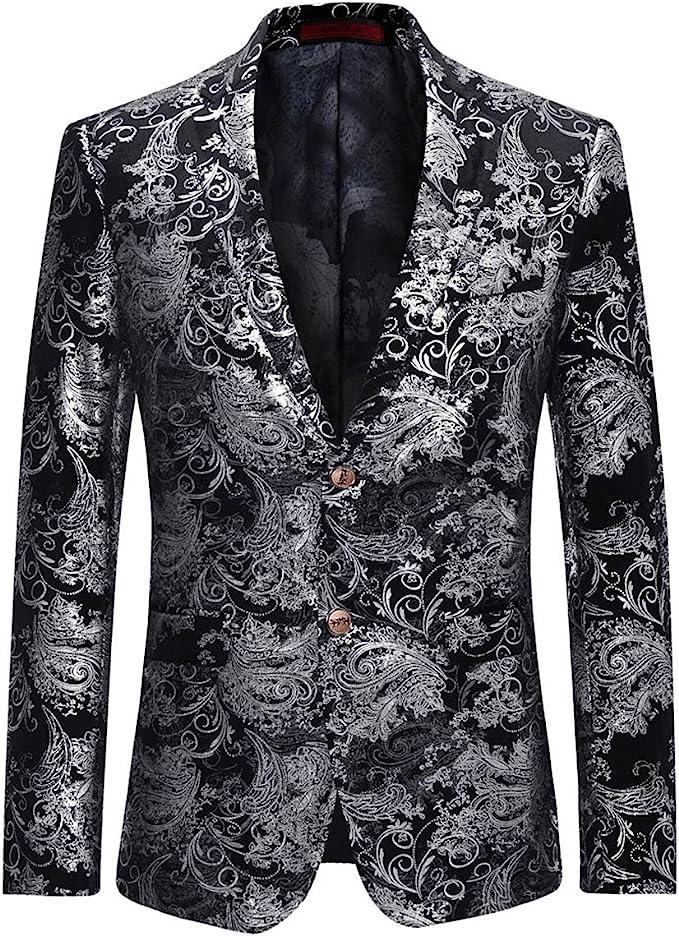 Men's Steampunk Jackets, Coats & Suits Mens Dress Floral Suit Notched Lapel Slim Fit Stylish Blazer Dress Suit  AT vintagedancer.com