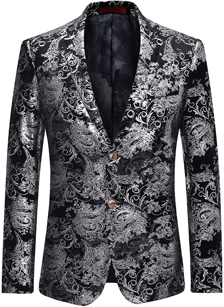 New popularity Men's Dress Floral Suit Notched Lapel Fit Blazer Slim Stylish Dr Cheap mail order specialty store