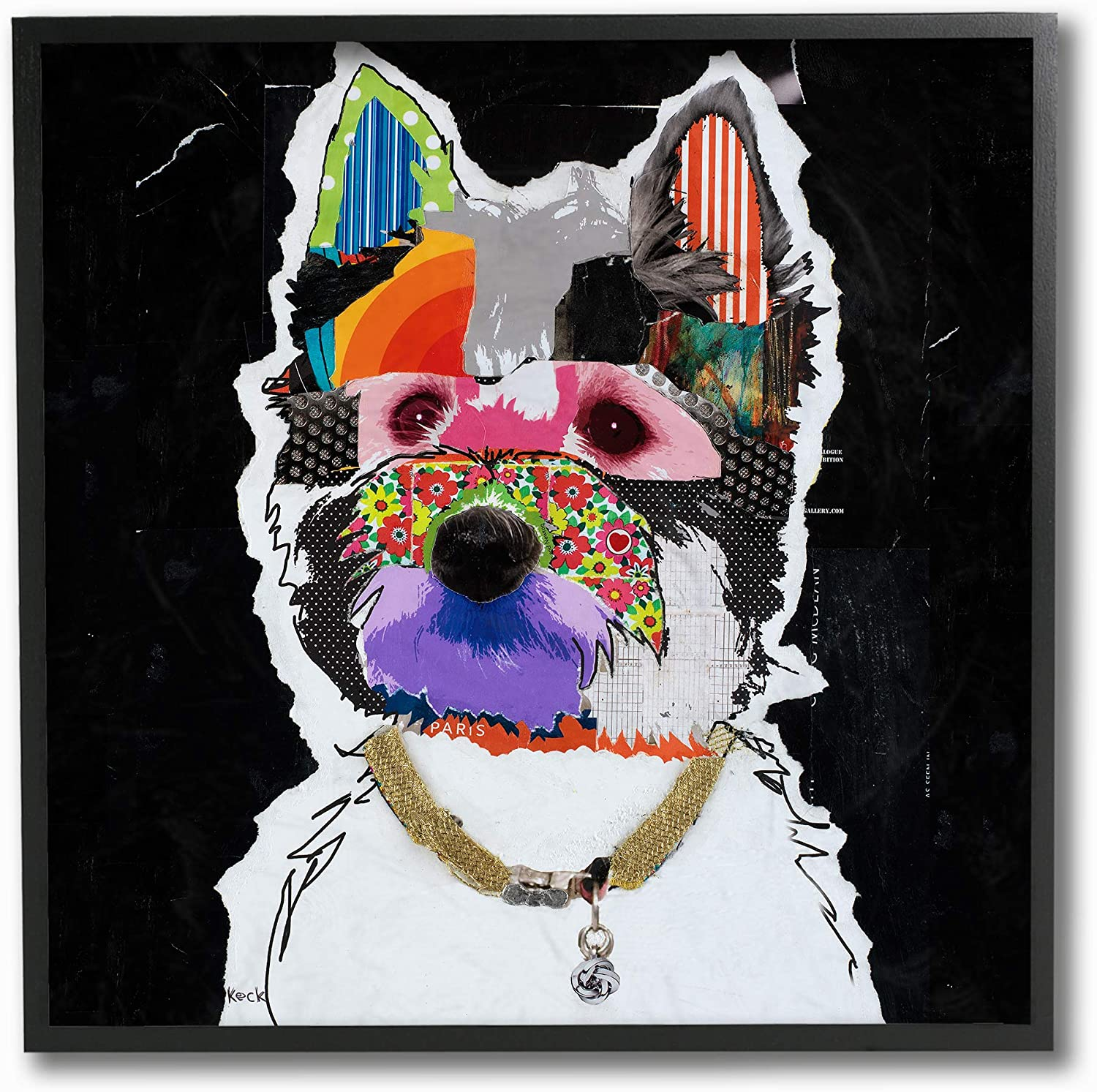 The Stupell Home Decor Paint Splatter color Block West Highland Terrier Portrait Framed Giclee Texturized Art, 12 X 12, Multi