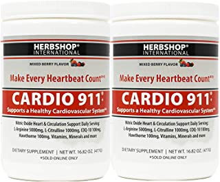 Sponsored Ad - Cardio 911 L-arginine and L-citrulline, Nitric Oxide Supplement, Mixed Berry Flavor, Pack of 2