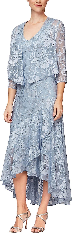 1930s Dresses | 30s Art Deco Dress Alex Evenings Womens Tea Length Printed Chiffon Dress with Shawl  AT vintagedancer.com