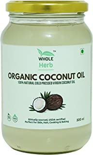 Whole Herb Organic Virgin Coconut Oil, 500ml (Unrefined) for Cooking-Hair-Skin