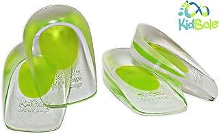 2 Pack - KidSole Shock Absorbing Lightweight Gel Heel Cups For Kid's With Sensitive Heels, Heel Spurs, Plantar Fasciitis, or Ankle Pain (Green Toddlers Size 11-2)