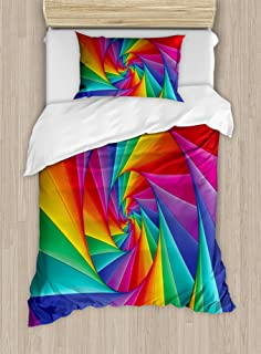 Ambesonne Trippy Duvet Cover Set, Abstract Art Psychedelic Spiral in Vivid Rainbow Colors Triangular Fractals Close-Up, Decorative 2 Piece Bedding Set with 1 Pillow Sham, Twin Size, Rainbow Colors