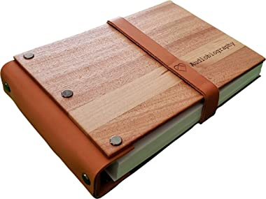 Audiobiography Audiobook | A Self-Guided Autobiography Creation Tool, in Your Voice | 90 Page Guided Journal | Heirloom Wood & Leather Covered | Scan, Record, Share, Remember | Family History Gift