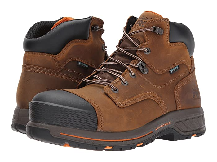 Timberland PRO  Helix 6 HD Composite Safety Toe Waterproof BR (Distressed Brown Full Grain Leather) Mens Work Lace-up Boots