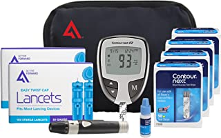 AF Contour Next Diabetes Testing Kit, 200 Count | Contour Next EZ Meter, 200 Contour Next Test Strips, 200 Lancets, Lancing Device, Control Solution, Manuals, Log Book & Carry Case