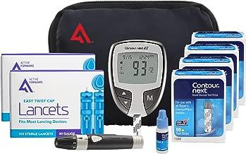 AF Contour Next Diabetes Testing Kit, 200 Count | Contour Next EZ Meter, 200 Contour Next Test Strips, 200 Lancets, Lancing Device, Control Solution, Manuals, Log Book & Carry Case