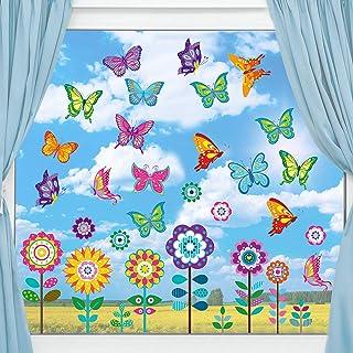 Autocollants de Fenêtre de Printemps de Taille Large Autocollants de Fenêtre de Papillon Fleur Autocollants Anti-Collision...