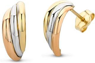 Miore Orecchini Donna tre colori Oro Giallo Oro Bianco Oro Rosa 14 Kt / 585