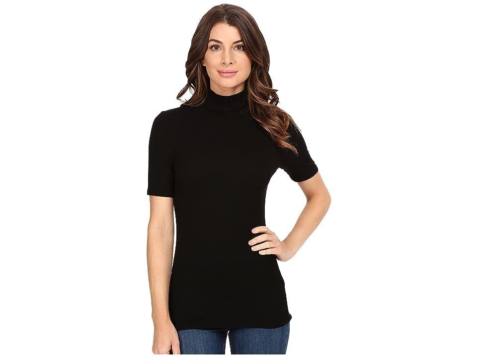 Three Dots Cleo Short Sleeve Turtleneck (Black) Women