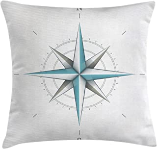 Ambesonne Compass Throw Pillow Cushion Cover, Antique Wind Rose Diagram for Cardinal Directions Axis of Earth Illustration, Decorative Square Accent Pillow Case, 18
