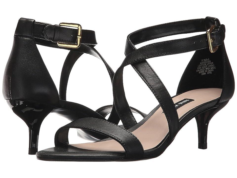 Nine West Xaeden Strappy Heel Sandal (Black Leather) Women