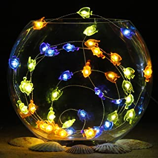 Impress Life Nautical Themed Christmas Decorations, Tropical Small Fish Led Blue Green Orange Battery-Powered String Lights 10ft 40 Led Silver Wire with Remote for Patio, Porch, Bedroom