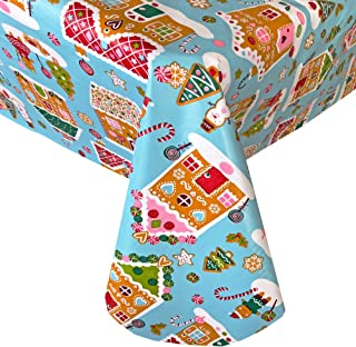 Newbridge Home Sweet Home Gingerbread Christmas Print Vinyl Flannel Backed Tablecloth by, Whimsical Novelty Xmas Holiday Tablecloth, Indoor/Outdoor (52 Inch x 70 Inch Oblong/Rectangle)