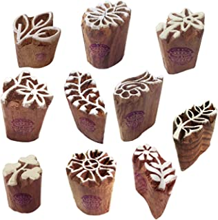 Henna Print Stamps Attractive Small Floral Leaf Shape Wooden Blocks (Set of 10)