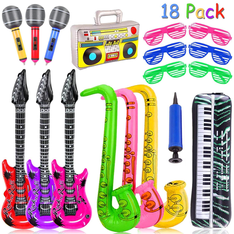 Yojoloin 18 Pcs Inflables Guitarra Saxofón Micrófono Gafas Globos ...