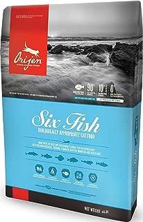 Orijen SIX Fish Dry Cat Food 4 LB. Bag Made New England Mackerel, Herring, FLOUNDER, Redfish, Monkfish Silver Hake