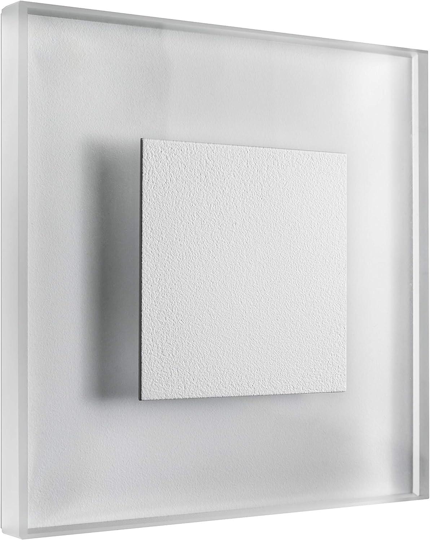 SET LED Treppenbeleuchtung Premium SunLED Large Warmwei 230V 1W Echtes Glas Wandleuchten Treppenlicht mit Unterputzdose Treppen-Stufen-Beleuchtung Wandeinbauleuchte (Alu  Wei, 7er Set)
