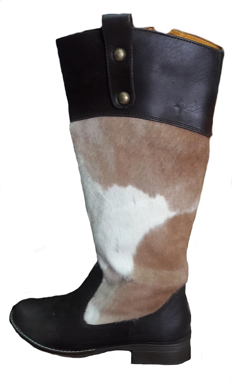 Alpakaandmore Womens Boots Western 100% Cow Leather Handmade Brown