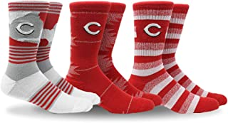 PKWY by Stance MLB Men's Clubhouse Collection 3-Pack Socks (Large, Cincinnati Reds)