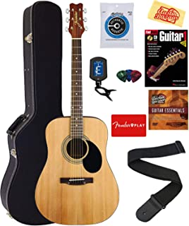 Jasmine S35 Acoustic Guitar - Natural Bundle with Hard Case, Strings, Tuner, Strap, Picks, Instructional Book, DVD, and Austin Bazaar Polishing Cloth