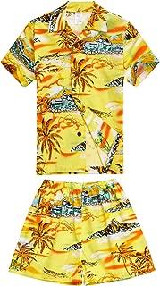 Palm Wave Boy Hawaiian Aloha Luau Shirt and Shorts 2 Piece Cabana Set in Yellow Map and Surfer