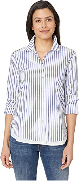 Button Up Stripe Shirt with Double Layer