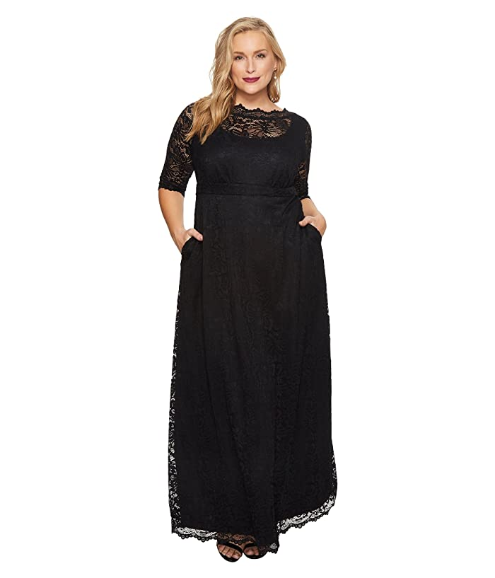 Kiyonna Leona Lace Gown (Onyx) Women's Dress