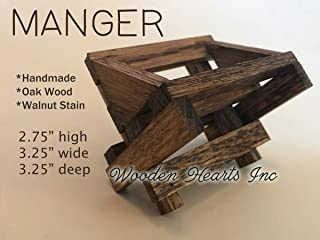 BABY MANGER Walnut -ANGEL STAND Antique White Wood -Compatible Accessories to fit our Handmade Wooden Stable (figures and stable not included) STABLE Creche Distressed Rustic *Handmade in USA