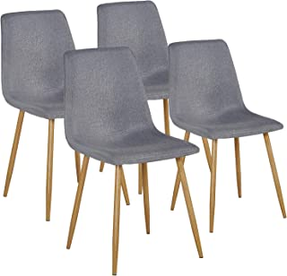 VECELO ,Fabric Cushion Seat Back Sturdy Metal Legs,Dining/Living Room Chairs Set of 4,Gray