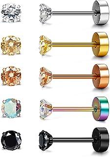 Besteel 5 Pairs Stainless Steel Stud Earrings for Men Women Ear Piercing Shiny CZ Inlaid 3-6mm