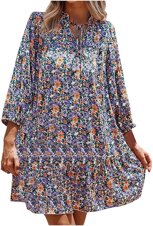 Womens Dresses Vintage Floral Print Sundress Lace Up V Neck Cocktail Dress Ruffle Hem Flowy Midi Skirt Long Sleeve Gowns