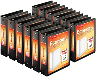 """Cardinal Economy 3-Ring Binders, 2"""", Round Rings, Holds 475 Sheets, ClearVue Presentation View, Non-Stick, Black, Carton o..."""