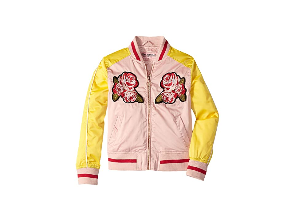 Urban Republic Kids Embroidered Sateen Bomber Jacket (Little Kids/Big Kids) (Rose Smoke) Girl