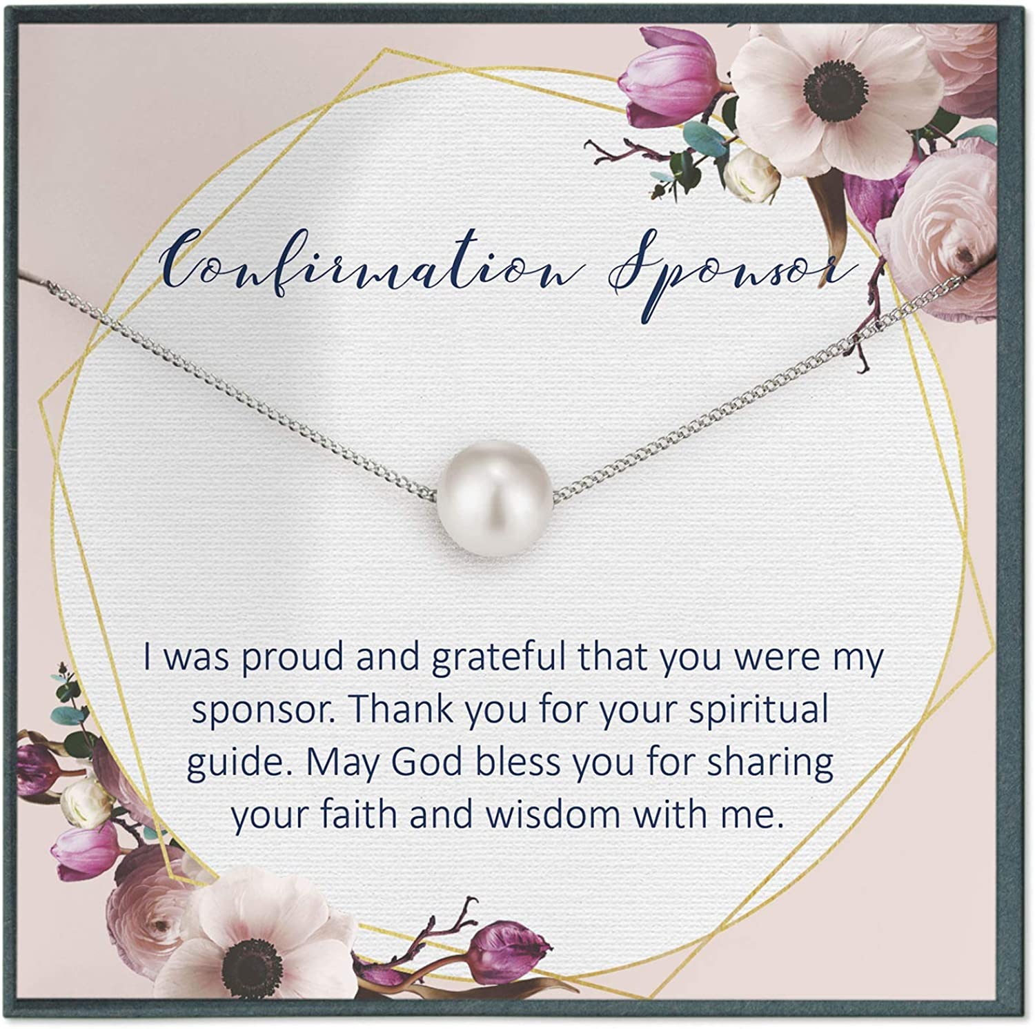 Grace of Pearl Godmother Goddaughter Necklace Gift for Godmother