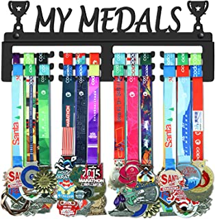 GENOVESE My Medals Holder Display Hanger Rack Frame,Black Sturdy Steel Metal,Wall Mounted Over 50 Medals Easy to Install