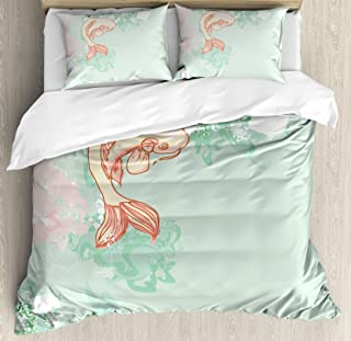 Ambesonne Japanese Duvet Cover Set King Size, Koi Longfin Gurnard Fish Swimming Pale Complex Customized Sea Backdrop Image, Decorative 3 Piece Bedding Set with 2 Pillow Shams, Pale Green Pink