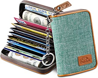 FurArt Credit Card Wallet, Zipper Card Cases Holder for Men Women, RFID Blocking, Key Chain, 12 Slots, Compact Size