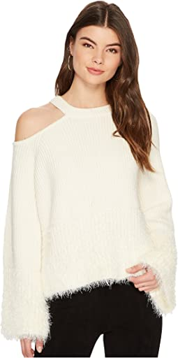 Shoulder Cut Out Sweater with Eyelash