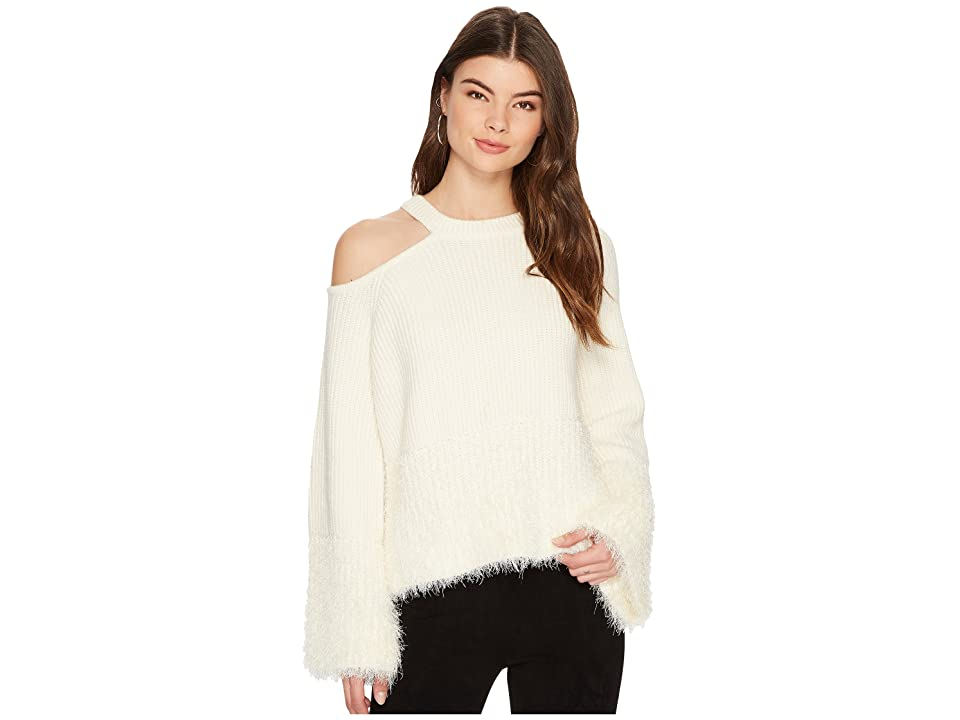 1.STATE Shoulder Cut Out Sweater with Eyelash (Antique White) Women